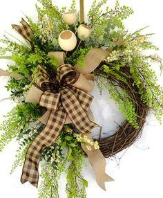 Country Burlap Wreath, All Year Wreath, Everyday Wreath, Greenery Wreath…