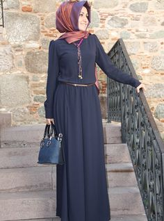 Belted Overall - Navy Blue - Pınar Şems Arab Fashion, Muslim Fashion, Modest Fashion, Skirt Fashion, Love Fashion, Fashion Dresses, Fashion Design, Mother Daughter Matching Outfits, Modele Hijab