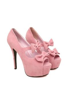 Elegant Sweet Peep-toe Platform Stiletto Heels with Double Bowtie - Shoespie.com