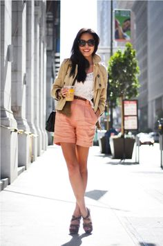 Lace top, bustier, vest and cropped trench - H&M Shorts - American Apparel Belt - Zara Necklaces - courtesy of Albeit and Towne & Reese Bracelets - J.Crew, Club Monaco and courtesy of Towne & Reese Watch - Burberry Heels - Miu Miu Sunglasses - D&G, courtesy of Sunglass Hut