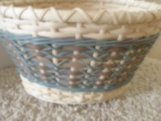 Lacey Diamonds Basket Handwoven Teal Tan by BHBasketsNBeadworks, $40.00