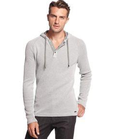 Michael Kors Two Tone Waffle Hoodie   Top, Sweatshirt and Clothing