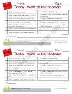 Publishers :: KindergartenWorks :: Red Notes to Parents for Behavior Management and Classroom Behavior Agreement Plan Classroom Behavior Management, Behaviour Management, Student Behavior, Classroom Behaviour, Classroom Discipline, Behavior Plans, Behavior Contract, Organization And Management, Classroom Organization