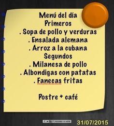 Menú del día, que tengáis un excelente viernes. #VaBeneSnackBar #Sada #Spain