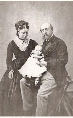 "Princess Helena and her husband Prince Christian with their first child Prince Christian Victor ""Christle"" in 1867"