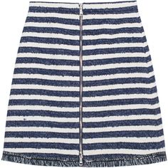 SONIA BY SONIA RYKIEL Stripe Zip Ecru Navy // Mini skirt with zipper ($175) ❤ liked on Polyvore featuring skirts, mini skirts, bottoms, zipper skirt, short mini skirts, high waist skirt, striped mini skirt and navy blue mini skirt
