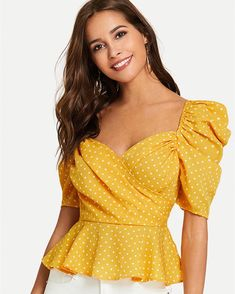 SHEIN Yellow Vacation Boho Bohemian Beach Backless Polka Dot Short Sleeve Wrap Front Blouse Summer Sexy Women Tops And Blouses Urban Chic, Polka Dot Shorts, Polka Dots, Polyvore Outfits, Dress And Sneakers Outfit, Wrap Front Top, Fashion News, Fashion Outfits, Fashion Women