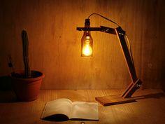 Handmade Recycled Bottle desk Light wood lamp desk by EunaDesigns