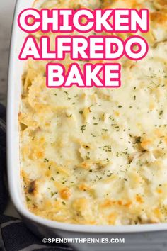 This easy chicken Alfredo bake is a creamy pasta dish that is make-ahead and freezer friendly. This Chicken Alfredo Bake is made with pasta, homemade Alfredo sauce, and chicken breasts. It's make ahead friendly, so it's perfect for busy weeknights! Crockpot Chicken Alfredo, Chicken Alfredo Casserole, Crockpot Chicken And Noodles, Chicken Pasta Bake, Recipe Chicken, Chicken Recipes, Chicken Meals, Cheesy Chicken, Rotisserie Chicken