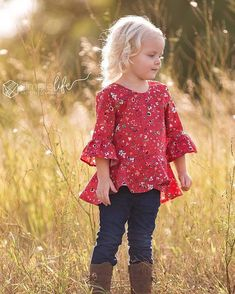 Georgia's High Low Peplum Top and Dress Toddler Outfits, Girl Outfits, Toddler Sewing Patterns, Fall Sewing, Sewing Diy, Sewing Ideas, Girls Long Sleeve Tops, Trendy Kids, Little Girl Dresses