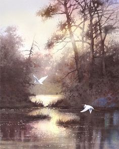 Egret Bird Art Print of Watercolor Painting  - Wildlife, Nature, Lake, Forest, Trees, Peaceful Gift Watercolors