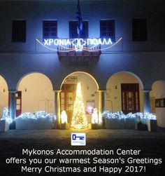 Happy 2017, Merry Christmas Greetings, Mykonos, Seasons, Mansions, House Styles, Christmas Wishes Sayings, Manor Houses, Seasons Of The Year