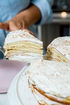 Delicious Crepe Layer Cake Vanilla Cake, Layers, Desserts, Food, Vanilla Sponge Cake, Layering, Meal, Deserts, Essen