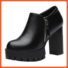LAIKAJINDUN Women's Platform Court Shoes Leather Chunky High Heel Pumps Shoes Black 7.5M US - Pumps for women (*Amazon Partner-Link)