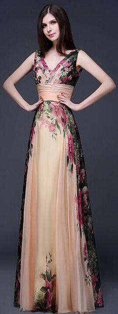 Elegant Flower Print Pleated Long Dress