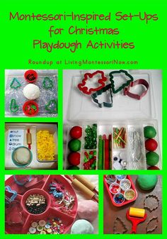 A number of different ideas for setting up Montessori-inspired Christmas playdough activities plus the Montessori Holiday Hop!