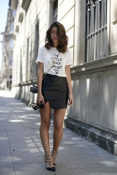 Chanel Tshirt, leather skirt and Valentino shows - vogue-ordie: From Lovely Pepa.