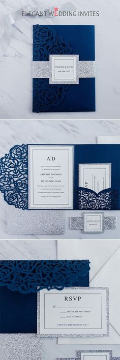 elegant navy blue rose laser cut wedding invitations with glitter belly bands and tags EWWS189 #weddinginvitations