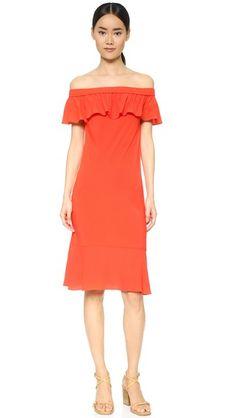 Veronica Beard Oleta Off Shoulder Dress: the off the shoulder look in orange red- oh la la tres chic.
