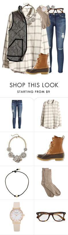 """when dad comes through w a new lax stick😍😍"" by thefashionbyem ❤ liked on Polyvore featuring AG Adriano Goldschmied, H&M, J.Crew, L.L.Bean, Bamford, Ray-Ban and Tiffany & Co."