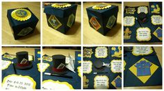 This is a darling invite for a Cub Scout blue & gold banquet. The theme was magic so I wanted something explosive and thought of the exploding box. All images came from the internet. I use the print and cut feature in silhouette studio. I love creating the Origami Scout shirt with all the patches my boys have. The hat with Queen of Hearts was my other favorite.
