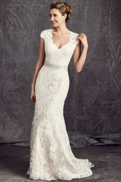 Suitable Court Train Lace Trumpet/Mermaid Sash V-neck Cap Sleeve Lace Wedding Dresses UK