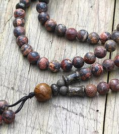 Beautiful jasper gemstone mala necklace by look4treasures on Etsy