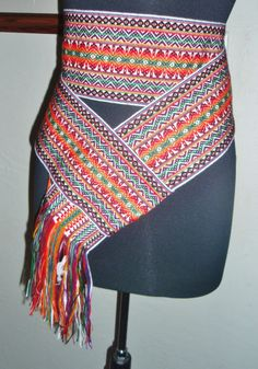 "MEXICAN TAPESTRY HAND WOVEN COTTON BELT WIDE STRIPE SASH 4"" W x 84"" FRINGE 6"""