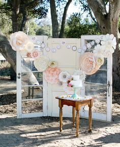 Paper flower dessert backdrop