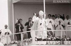 Papa Juan Pablo II, en su visita a Venezuela (estado Mérida). 28-01-1985. (TOM GRILLO / ARCHIVO EL NACIONAL)
