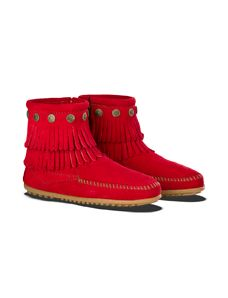 Minnetonka Limited Edition Cherry Red Color, Double Fringe Side Zip Boot. I want these so bad