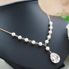 Swarovski Crystal with Swarovsk Pearls Bridal Necklace - Earrings Nation