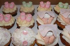 Baby Shower Cupcakes, Baby Butt Cupcakes, Baby Booties