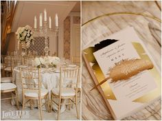 NMWA Special Events, photography by LoveLife Images. Table Setting in Great Hall and Menu Detail.