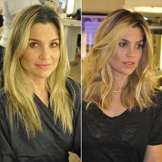 Flávia Alessandra antes e depois do corte Long Bob