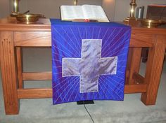 Lenten Altar Frontal - dupioni silk that photographs blue instead of the rich purple it is.