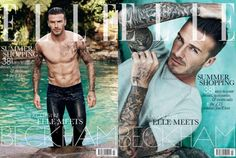 David Beckham Is Shirtless and Wearing Wet Skinny Jeans on British Elle's July 2012 Cover