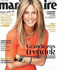 Who made  Jennifer Aniston's short sleeve orange dress that she wore on the cover of Marie Claire magazine?