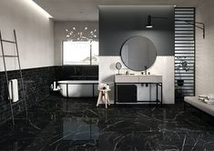 Cascade is a black marble look porcelain tile from Eco Friendly Tiles. Achieve a marble look without the environmental implications of naturally mined marble. This stunning tile is supported with an EPD, is slip rated and available in a range of sizes. Marble Look Tile, Marble Mosaic, Black Marble, Bathroom Flooring, Bathroom Wall, Digital Decorations, Toilette Design, Polished Porcelain Tiles, Restroom Design
