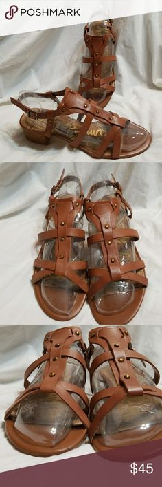 Sam Edelman block heel sandal 8.5 M brown Angela Angela by Sam Edelman sandals size 8.5 M.  Brown leather upper, slingback style heel strap, block heel, bronze decorative studs.  Gently used condition, no major condition issues to disclose.  Awesome everyday sandal for summer! Sam Edelman Shoes Sandals