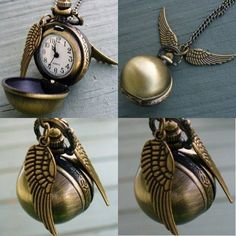 $3.79 AUD - Harry-Potter Snitch Pocket Watch Pendant Necklace Steampunk Quidditch Wing Clock #ebay #Collectibles