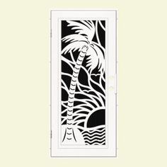 Unique Home Designs 36 In. X 80 In. Playa White Left Hand Surface Mount Security  Door With Charcoal Insect Screen