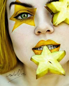 """""""A very nice series of self-portraits entitled """"Tutti Frutti"""" by 16-year old Spanish photographer Cristina Otero. Blending close-ups with fruits and wild make-up, the artist draws the viewers into an unconventional and colourful notion of beauty. With just a couple years of experience in photography, this prowess is the expression of true talent."""""""
