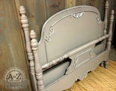 Painted Antique Bed: Webster's Chalk Paint Powder and Benjamin Moore paint.