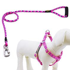 Helios Outdoor Durable Safe Patterned Strong Nylon Rope Dog Leash Dog Lead With Comfortable Foamed Handle And Adjustable No Pull Dog Harness Set Great For Walking Training Hiking Climbing Medium Pink *** Read more reviews of the product by visiting the link on the image.