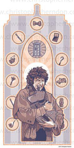 Saint Baker of Who Screen Print 11x17 Print by ChrisHerndonArt on Etsy.com $25 Christopher Herndon Artwork Dr Who February 2015