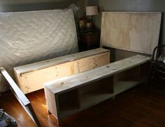 take apart current diy bed frame and re assemble a bit smaller then reupholster diy build and upholster a bed frame sault house master bedroom - How To Build A Bed Frame With Storage