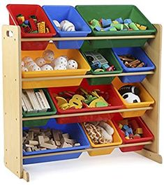 Amazon.com: Tot Tutors Kids' Toy Storage Organizer with 12 Plastic Bins, Natural/Primary (Primary Collection): Kitchen & Dining