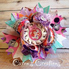 Ariel, Disney princess, the little mermaid, bow, hair bow, over the top, stacked boutique bow, girl's accessories