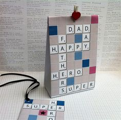 Scrabble inspired Father's Day Gift Bag Template, create bags from a folded… Scrabble Crafts, Scrabble Art, Tarjetas Diy, Daddy Day, Fathers Day Crafts, Masculine Cards, Creative Cards, Craft Gifts, Cardmaking